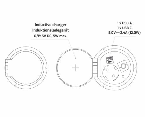 TecLines TES005B Einbausteckdose mit 1x USB-A, 1x USB-C, 1x Leer, Qi, Funktionen