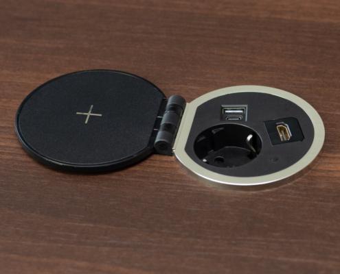 TecLines TES005B Einbausteckdose mit 1x USB-A, 1x USB-C, 1x Leer, Qi, optionales HDMI Modul