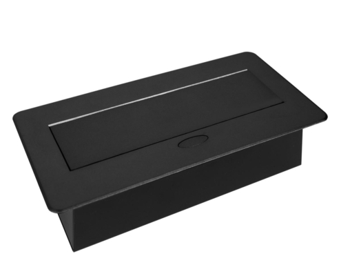 TecLines TES009 / TES010 / TES011 / TES012 recessed socket outlet with cable, closed, black