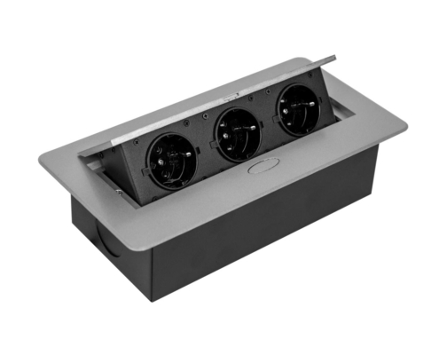 TecLines TES009 / TES010 / TES011 / TES012 recessed socket outlet with cable, 3x socket, silver