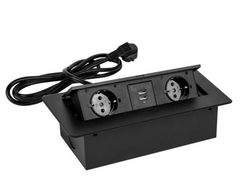 TecLines TES009 / TES010 / TES011 / TES012 versenkbare Einbausteckdose mit Kabel, 2x Steckdose, 2x USB-A, schwarz