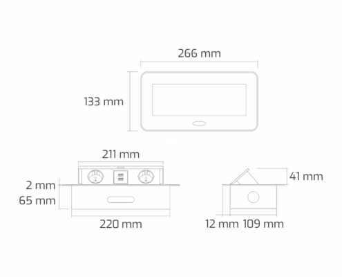 TecLines TES009 / TES010 / TES011 / TES012 recessed socket outlet with cable, 2x socket, 2x USB-A, technical drawing