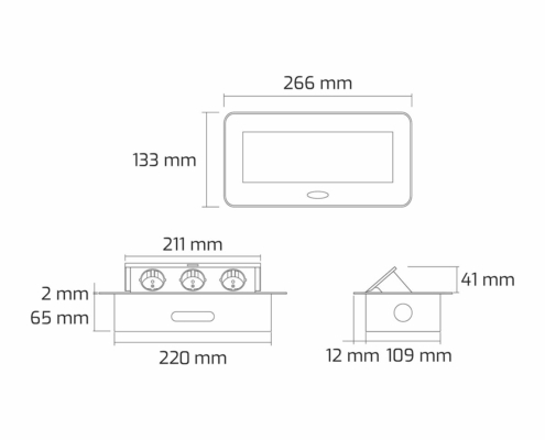 TecLines TES009 / TES010 / TES011 / TES012 recessed socket outlet with cable, 3x socket, technical drawing
