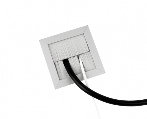 TecLines TKB001 desk cable outlet splitted brush sealing, white, example of use