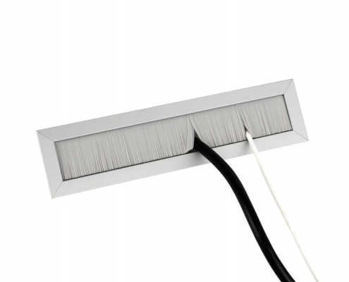 TecLines TKB002 desk cable outlet with brush sealing gray