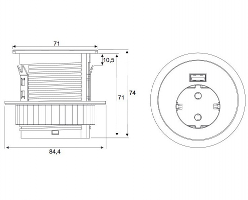 TecLines TMS001 multifunctional socket, 1x safety socket, 1x USB, technical drawing
