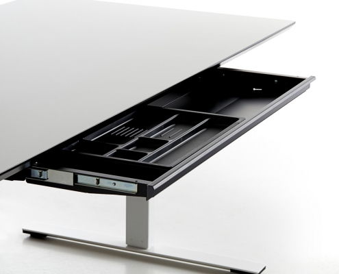 TecLines TUS001B Under desk drawer with plastic insert L, example of use