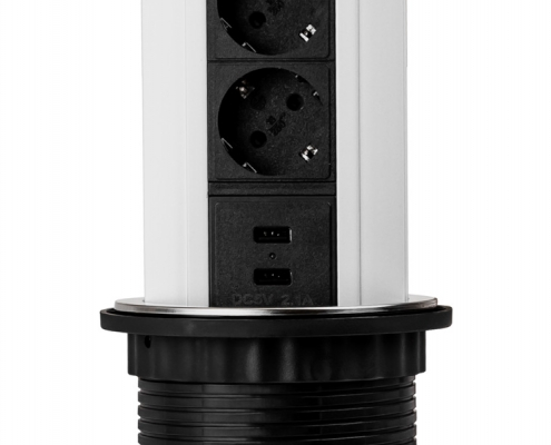 TecLines TVS002 retractable power strip 315 mm, 3x safety socket, 2x USB, replaceable cover